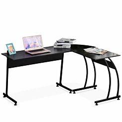 Evelyn L Shaped Corner Desk with Steel Frame Black