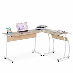 Evelyn L Shaped Corner Desk with Steel Frame Natural