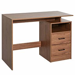 Fiorella Computer Desk with 2 Drawers Brown