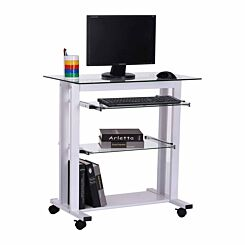 Giovanna Glass Computer Desk Table with Wheels
