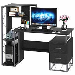Gwyneth Computer Desk with 2 Drawers and Shelving Unit