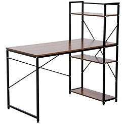Channing Metal Frame Computer Desk with 4 Tier Bookshelf