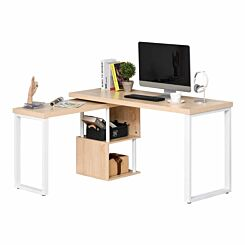 Harrianna Rotating L-Shaped Office Desk with Storage
