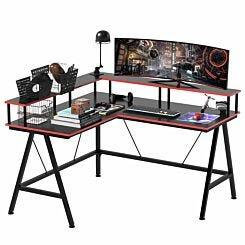 Saskia L-Shape Gaming Desk with Monitor Shelf