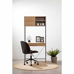 Interiors by PH Desk and Storage Cabinet with Dark Brown Frame
