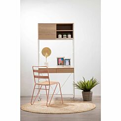 Interiors by PH Desk and Storage Cabinet with White Frame