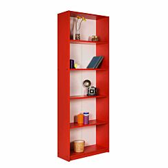 Max 5 Tier Bookcase 170cm Tall Red