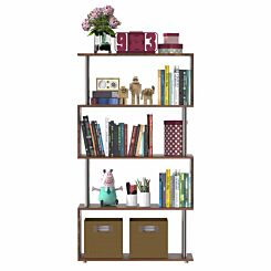 Anastasia S Shape Bookshelf Walnut