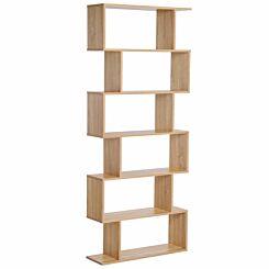 Carter S-Shape Room Divider Bookcase with 6 Shelves