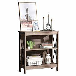 Ellis 2 Tier Bookcase with Steel X-Bar