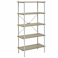 Interiors by PH 5 Tier Shelving Unit with Metal Frame White