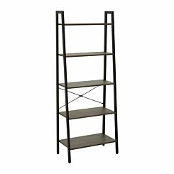 Interiors by PH 5 Tier Ladder Shelving Unit with Metal Frame Black