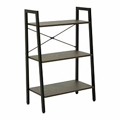 Interiors by PH 3 Tier Ladder Shelving Unit with Metal Frame Black