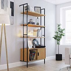 Teknik Office Hythe Wall Mounted 4 Shelf Bookcase with Door