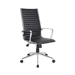 Bari High Back Chair Leather Faced Black