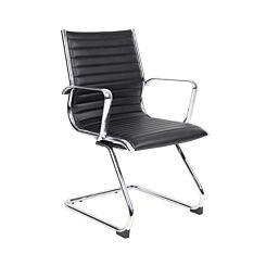 Bari Visitors Chair Leather Faced Black