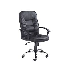 Hertford Executive Chair Leather Faced Black