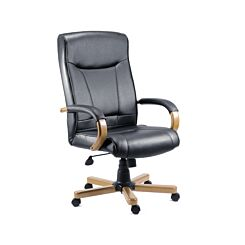 Teknik Office Kingston Executive Black Leather Faced Chair Oak