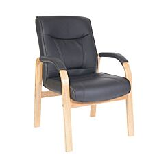 Teknik Office Kingston Leather Faced Visitor Chair Black Oak