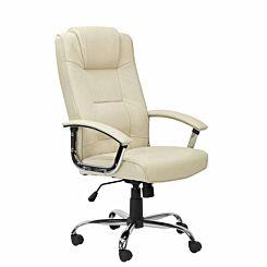 Houston High Back Leather Faced Executive Chair Cream