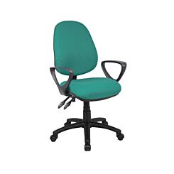 Fabric Operator Chair Twin Lever Fixed Arms