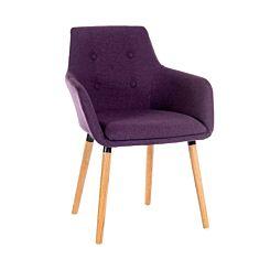 Teknik Office Four Legged Soft Padded Office Chair with Oak Effect Legs Plum