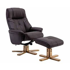Teknik Denver Leather Look Recliner with Matching Footstool