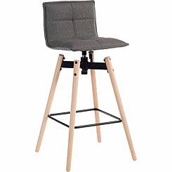 Teknik Office Spin Barstool Grey with Wooden Legs Light Oak