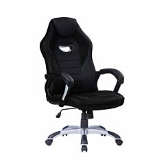 TC Office Racer Chair with Silver Base Black