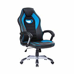 TC Office Racer Chair with Silver Base Blue