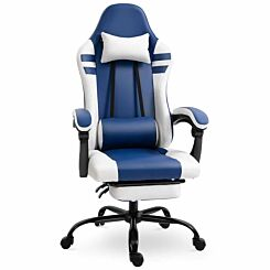 Leighton Racing Style Gaming Chair with Footrest Blue