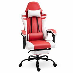 Leighton Racing Style Gaming Chair with Footrest Red