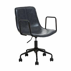 Interiors by PH Leather Effect Office Chair with Arms Grey