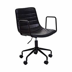 Interiors by PH Striped Leather Effect Office Chair with Arms Black