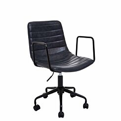 Interiors by PH Striped Leather Effect Office Chair with Arms Grey