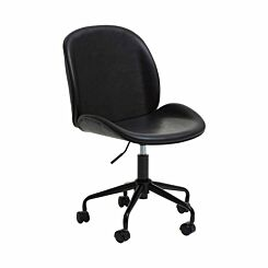 Interiors by PH Leather Effect Retro Office Chair Black