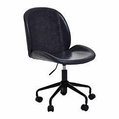 Interiors by PH Leather Effect Retro Office Chair Grey