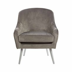 Interiors by PH Velvet Armchair with Silver Finish Wood Legs