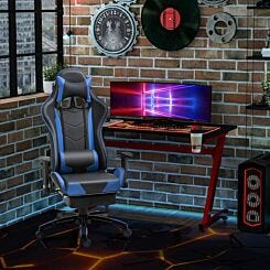 Riley Faux Leather Gaming Chair with Retractable Footrest