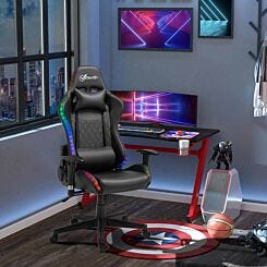 Benallack Faux Leather Gaming Chair with LED Lights