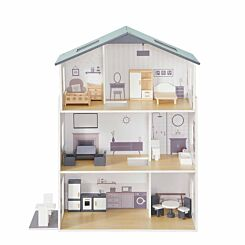 Liberty House Toys Contemporary Dollhouse with 18 Piece Accessories