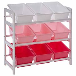 Premier Kids 3 Tier Storage Unit with 9 Plastic Bins Pink