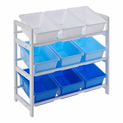 Premier Kids 3 Tier Storage Unit with 9 Plastic Bins Blue