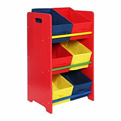 Premier Kids 3 Tier MDF Storage Unit with 6 Canvas Tubs