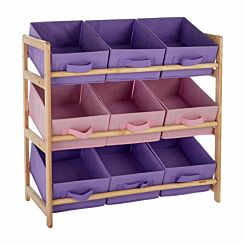 Premier Kids 3 Tier Storage Unit with 9 Canvas Tubs