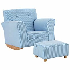 Premier Kids Rocker Armchair with Footstool Blue