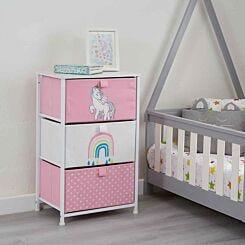Liberty House Toys Kids Unicorn 3 Drawer Storage Unit