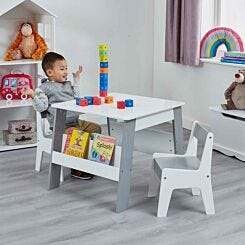 Liberty House Toys Kids White and Grey Bookshelf Table and Chair Set