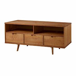 Amalfi Mid Century Modern TV Stand with 3 Drawers Natural
