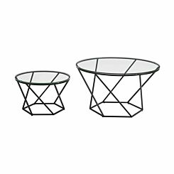 Capua Modern Glass Nesting Tables Set of 2
